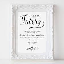 wedding gift donation to charity in lieu of favors sign wedding donation sign charity