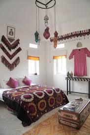 Bedroom Bright Bohemian Bedroom With Dark Blue Floral Pattern