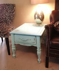 Refinishing Wood Furniture Shabby Chic by Shabby Chic End Table Duck Egg Blue Chalk Paint Distressed