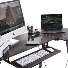 amazon com bhg l shape computer desk with slide out keyboard