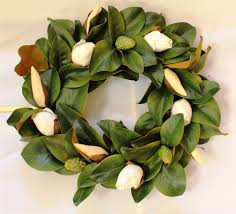 decor magnolia leaf bud wreath with white flower wreaths and
