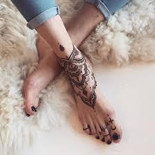 mandala tattoo zum aufkleben tatouage mandala sur le pied et la cheville pinterest