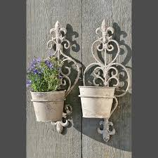 vintage wrought iron wall mounted plant pot holders in white of 14