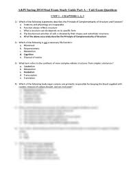 final exam study guide part a unit exam questions pdf anatomy