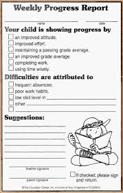 elementary progress report template 12 weekly progress report template authorizationletters org