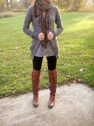leggings grey sweater scarf striped dress boots fashion
