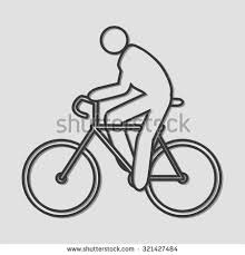 simple line art person riding bicycle stock vector 321427484
