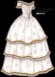 1843 christmas evening gown in white and gold with snowflake