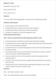 Advertising Resumes Advertising Resume Template U2013 16 Free Samples Examples Format