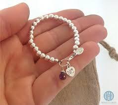 customized baby bracelets initial baby bracelet with gemstone flower new baby girl