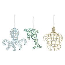 nicholas square glitter coastal christmas ornaments 3 piece set