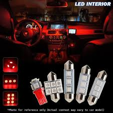 Interior Car Led Light Kits 8pcs Red Interior Map Dome License Plate Lights Kit For 2002 2005