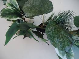 evergreen home decor 6 u0027 multi leafed evergreen garland holly pine snow covered pine