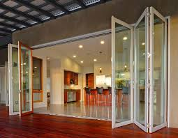 Folding Exterior French Doors - glass outside doors that fold connect interior and exterior