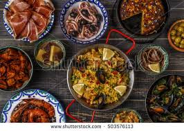 Indian Food Olives From Spain Traditional Assorted Indian Food Holi Colours Stock Photo