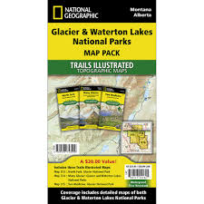 Glacier Park Map Glacier And Waterton Lakes National Parks Trail Maps Map Pack