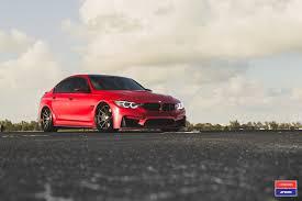 bmw m3 2017 bmw m3 facelift in red gets custom vossen wheels autoevolution