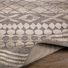 Area Rug Grey by Ur4132 Urban Contemporary Sculpted Effect Tribal Print Design