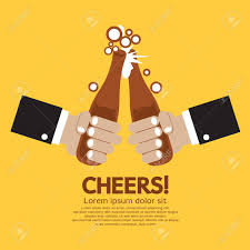 beer vector cheering of two bottles beer vector illustration royalty free