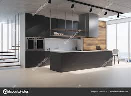 comptoir de cuisine noir comptoir de cuisine noir vue latérale photographie denisismagilov