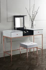 rose gold vanity table product photos of stiletto toughened white glass and rose gold