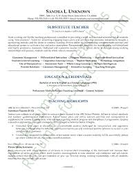 Teaching Resume Template Substitute Resume Sles By L Unknown Writing