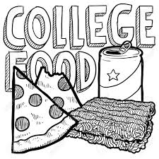 cartoon beer can doodle style college food illustration with pizza ramen noodles