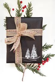 rustic christmas gift wrap idea plain black wrapping paper with
