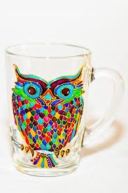 coffee gift owl mug hand painted colorful glass mug christmas