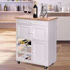 kitchen storage cabinet cart gymax modern rolling kitchen cart trolley island storage