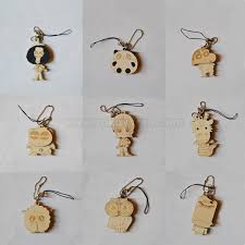 wooden key chain wooden laser carving key chain with ali doll shape zwo1830