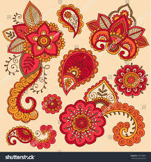 henna flowers paisley mehndi tattoo doodle stock vector 121368985