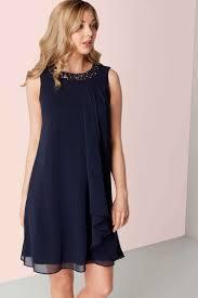 chiffon dress online exclusive embellished neck chiffon dress in navy