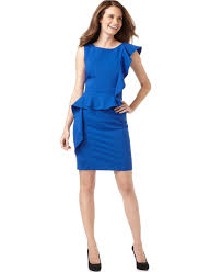 calvin klein dress ruffled asymmetrical sheath womens dresses