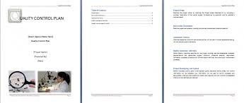 quality control plan template format u0026 template