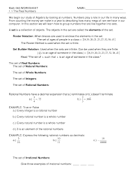 Rational Or Irrational Numbers Worksheet Equivalent Fractions Worksheets