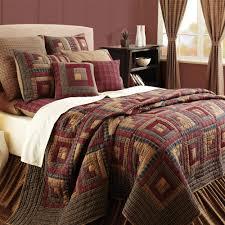 King Quilt Bedding Sets Burgundy Lodge Log Cabin Block Oversized Cal King Quilt