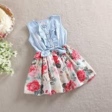 wholesale summer kids girls soft denim cotton print floral dresses