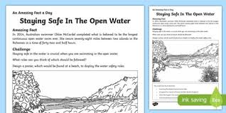 Is The Water Challenge Safe Staying Safe In The Open Water Worksheet Activity Sheet