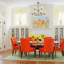 Dining Room Ideas Traditional Traditional Dining Room With Orange Chairs Pendant Lamp Oval