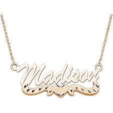 14kt gold name necklace personalized large 3d script name with diamond cut heart 14kt