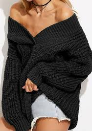 oversized shoulder sweater black dolman batwing irregular shoulder oversized knit