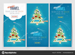 three new year and christmas vacation holiday banners island in