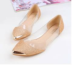 gold bridesmaid shoes wedding shoes ideas pointed toes gold bling flat summer