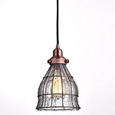 Cage Pendant Light Yobo Lighting Vintage Cracked Glass Wire Cage Hanging Pendant