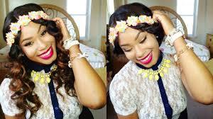 headband waves diy neon floral headband trend waves grecian updo hair