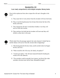rl 7 10 comprehension of complex texts reading literature 7th
