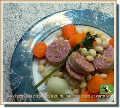cuisiner haricots coco recette de saucisson à la pistache à cuire haricots coco et carottes