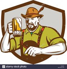 beer vector illustration of a german bavarian beer drinker raising beer mug