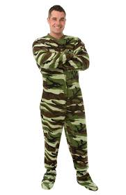 camo footed pajamas for adults by big pjs